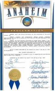 "City of Anaheim Proclamation of May 10, 2018 as ""Small Business Development Day"""