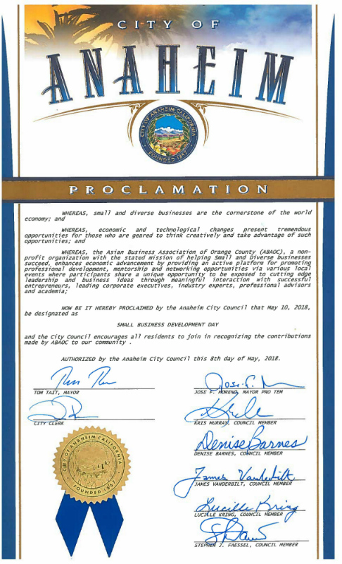 """City of Anaheim Proclamation of May 10, 2018 as """"Small"""
